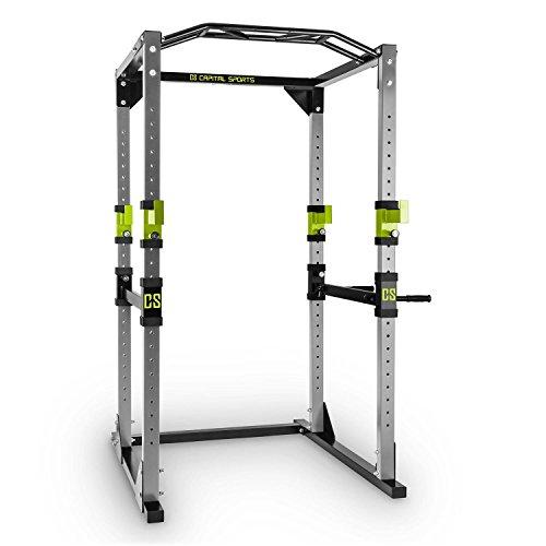 Capital Sports Tremendour Power Rack mit Klimmzughalterung und aufsteckbaren Dipstangen