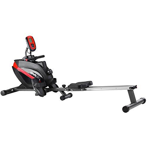 SportPlus Rudergerät, für Zuhause, klappbar, leises und wartungsfreies Magnetbremssystem, Trainingscomputer mit 5kHz Pulsempfänger, Nutzergewicht bis 150kg