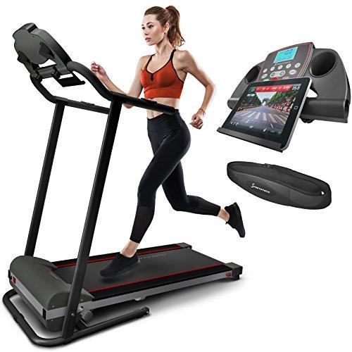 Sportstech F10 Laufband mit Smartphone App Steuerung, Schmiersystem, Pulsgurt,, Bluetooth, 13 Programmen – kompakt klappbar