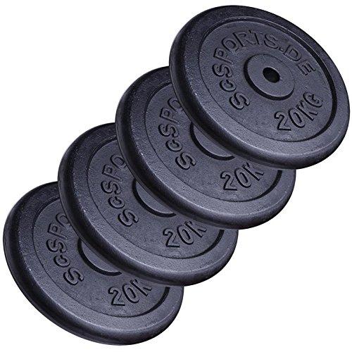 ScSPORTS 80 kg Hantelscheiben-Set 4 x 20 kg Gusseisen Gewichte mit 30/31 mm Bohrung